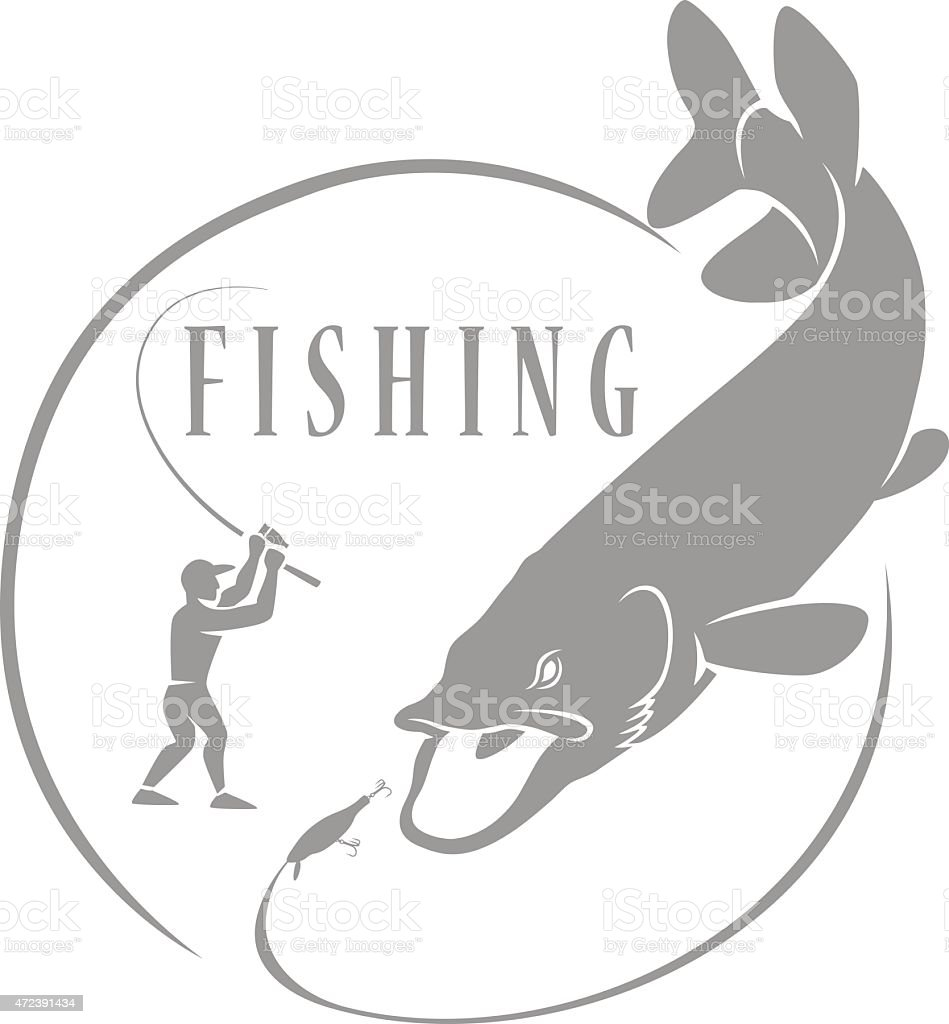 A gray pike fishing icon on a white background vector art illustration
