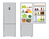 Gray refrigerator with open doors, a full of food