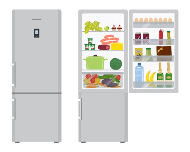 Gray refrigerator with open doors, a full of food Gray fridge with open doors, a full of food. There are champagne bottles, a box of chocolates, a water bottle, a sausage, bananas, eggs, ketchup, vegetables and fruits in the picture. Vector refrigerator stock illustrations