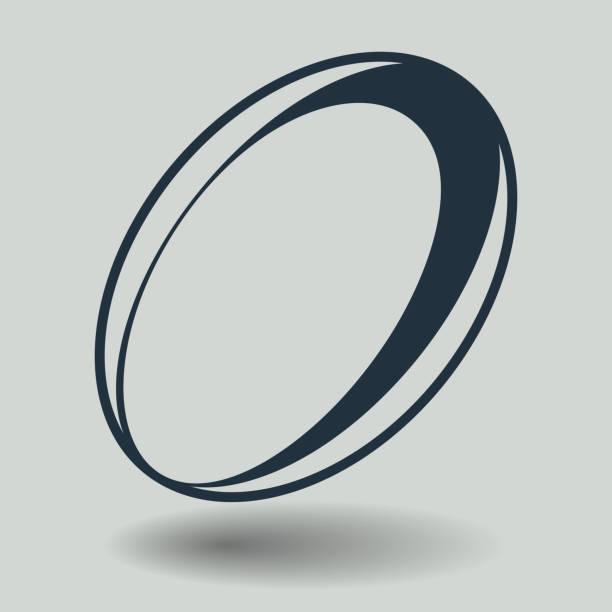 Ícone de Rugby cinza isolado no fundo. Moderno apartamento pictograma, negócios, marketing, conceito de internet. Símbolo moderno vetor simples para web design do site ou para ilustração de ícone do App móvel. - ilustração de arte em vetor