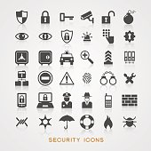 Set security icons. File is saved in AI10 EPS version. This illustration contains a transparency