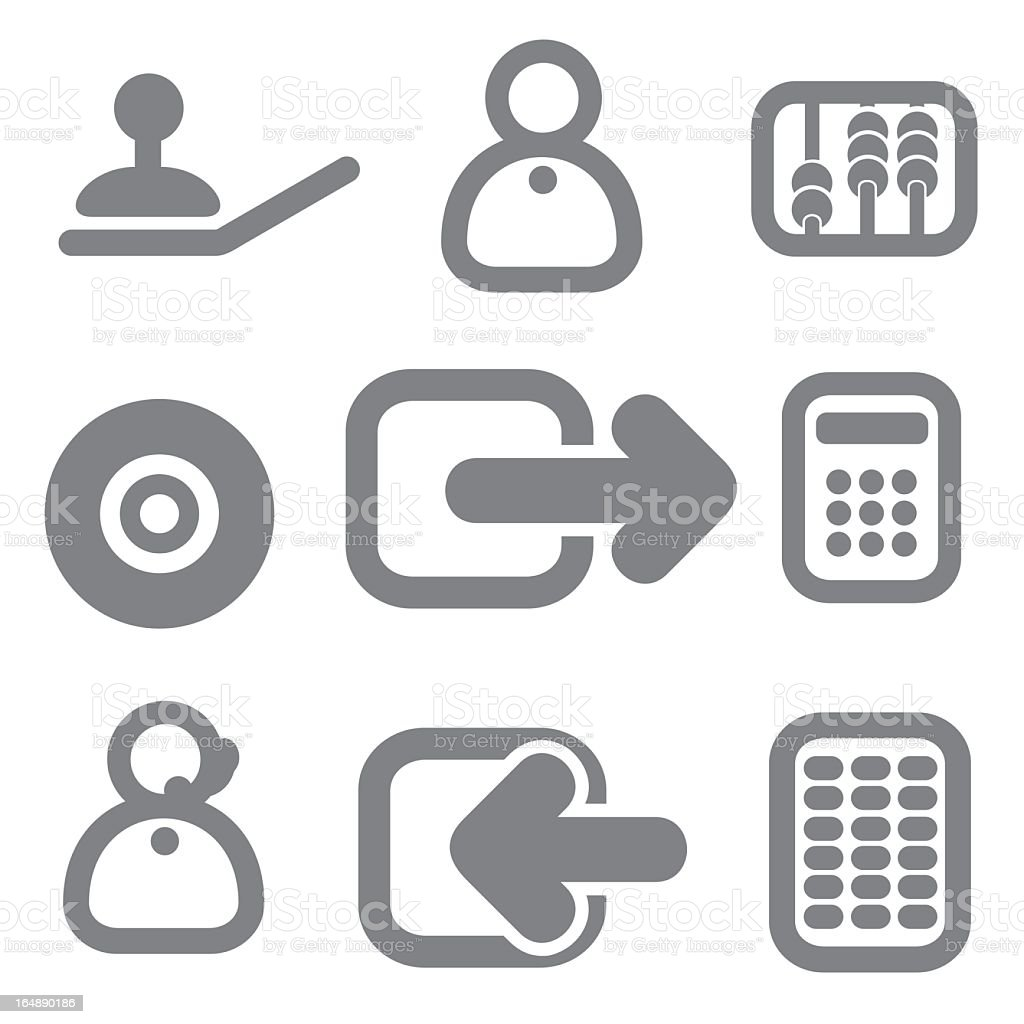 Gray set of nine illustrated icons royalty-free stock vector art