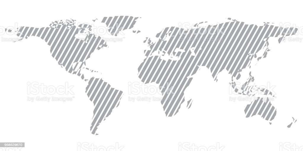 Perfect Gray Similar World Map. World Map Blank. World Map Vector. World Map Flat