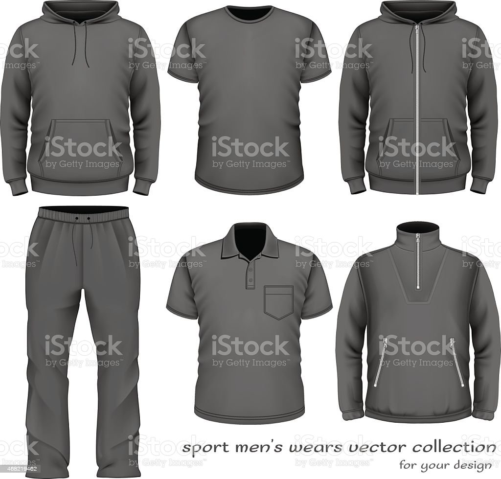 A gray six piece sport men's wear vector collection vector art illustration
