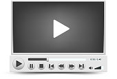 Gray skin vector video player interface