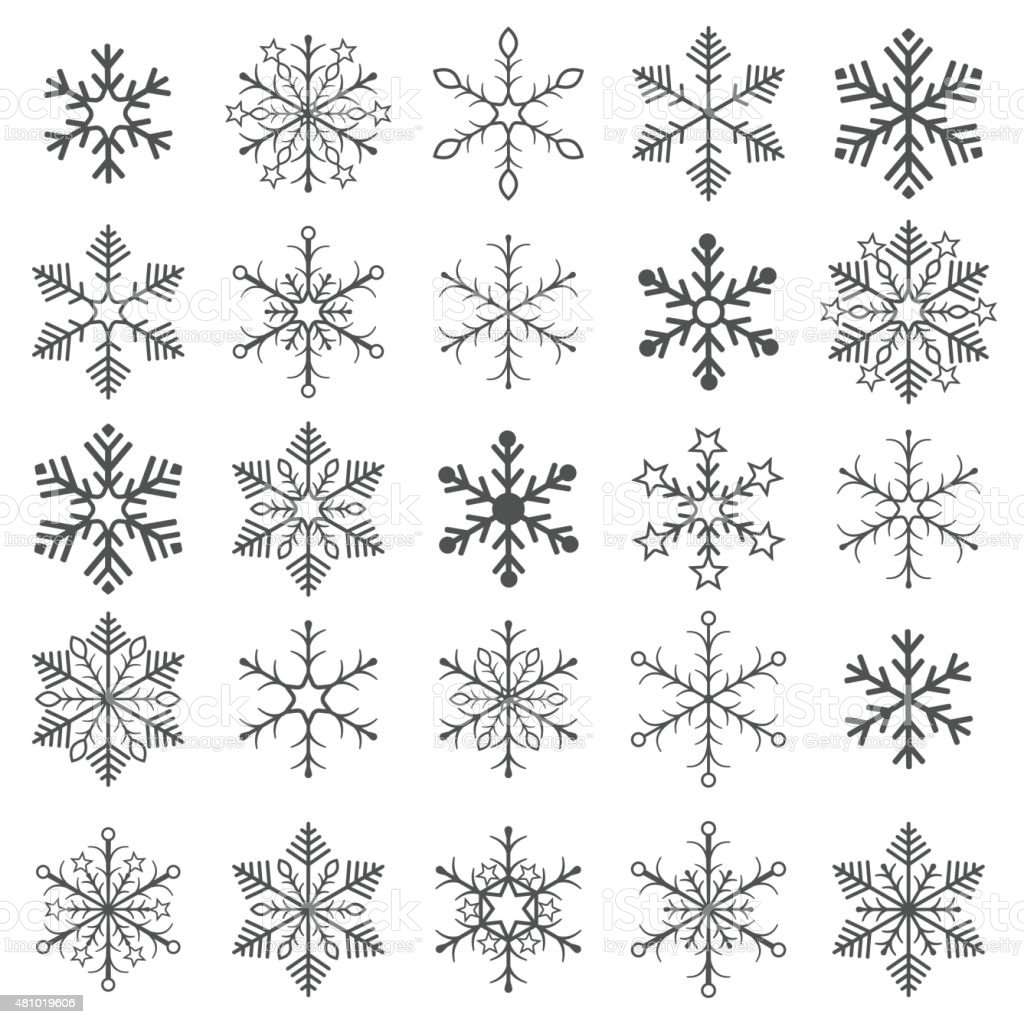 Gray Snowflakes White Background vector art illustration