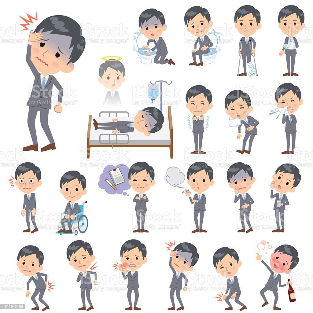 Gray Suit Businessman About the sickness vector art illustration