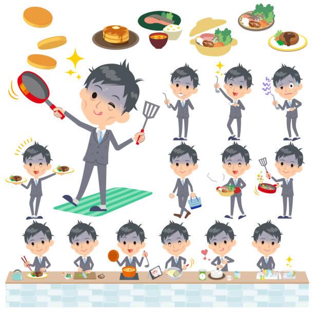 ilustrações de stock, clip art, desenhos animados e ícones de gray suit businessman bad condition_cooking - fail cooking