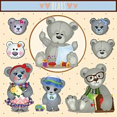 Set of gray Teddy bears, big family mom, dad and children, accessories, clothing, toys