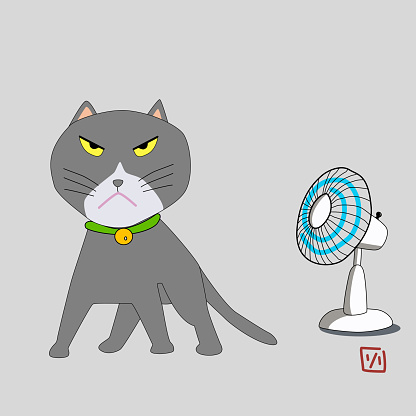A gray tomcat. Angry cat cartoon with electrical fan. Cute grumpy cat, vector.