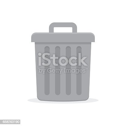 Gray trash can with lid. vector illustration in flat style on a white background