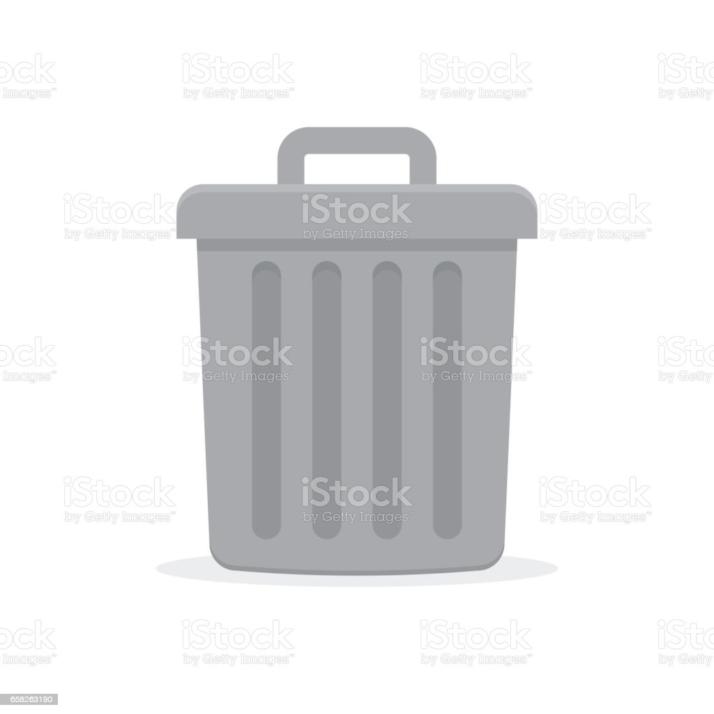 Gray trash can with lid vector art illustration