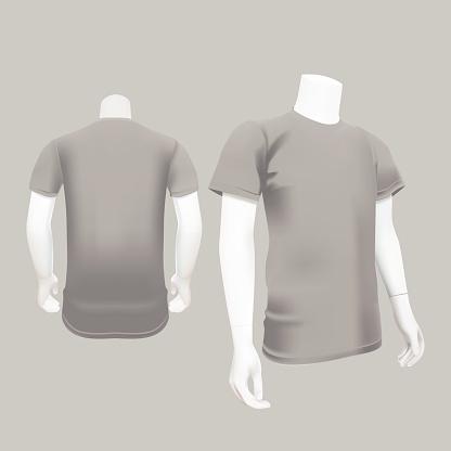 Gray T-Shirt Template - Vector Illustration