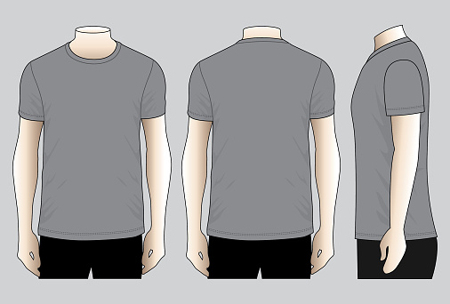 Gray T-Shirt Vector for Template