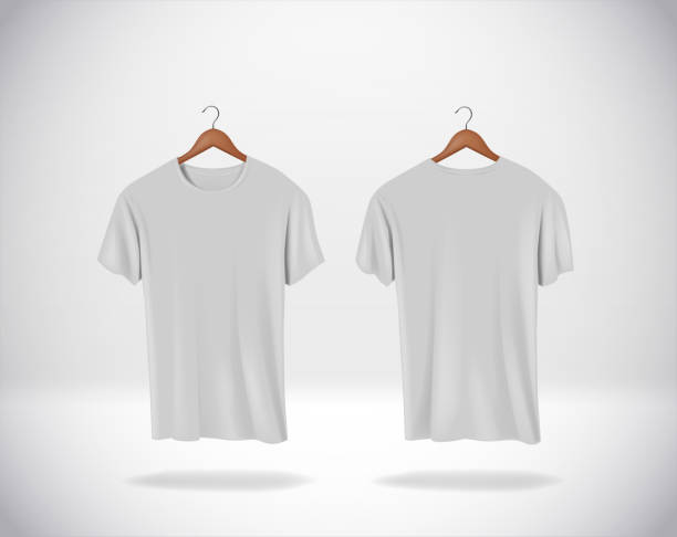 ilustrações de stock, clip art, desenhos animados e ícones de gray t-shirts mock-up clothes hanging isolated on wall, blank f - teeshirt template