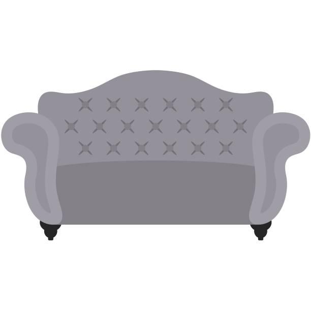 graue getuftete sofa illustration - leinensofa stock-grafiken, -clipart, -cartoons und -symbole