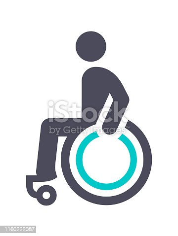 Disabled, gray turquoise icon on a white background