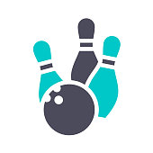 Bowling ball and skittles, gray turquoise icon on a white background