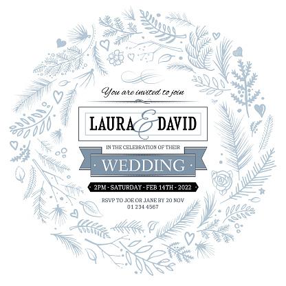 Gray wedding invitation circle design