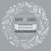 Silver wedding invitation natural wreath pattern background