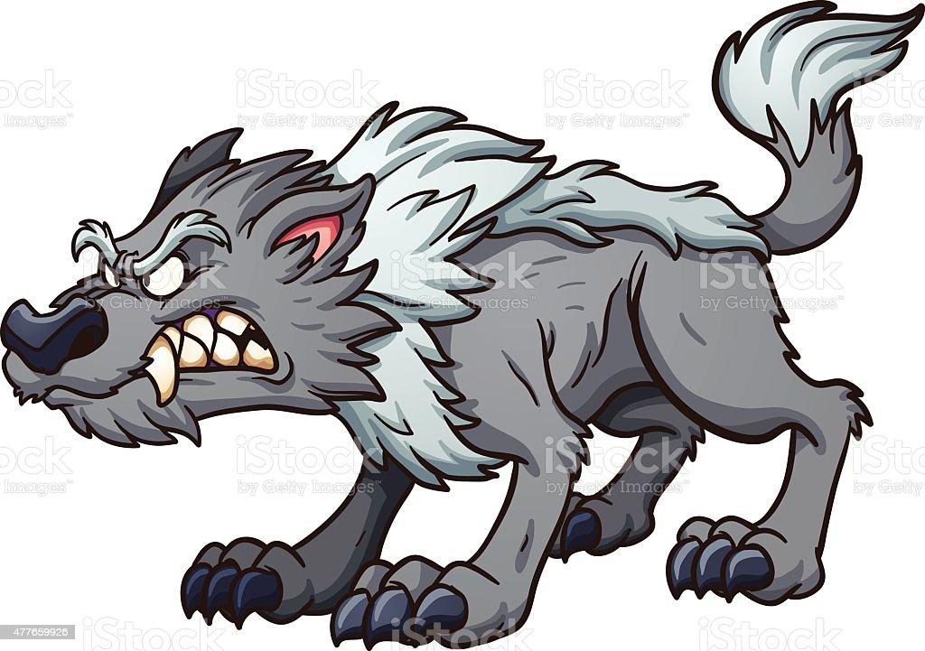 Gray wolf vector art illustration