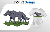 Gray wolf walking on grass t-shirt print. Colorful mock up t-shirt design template. Vector template, isolated on white background.