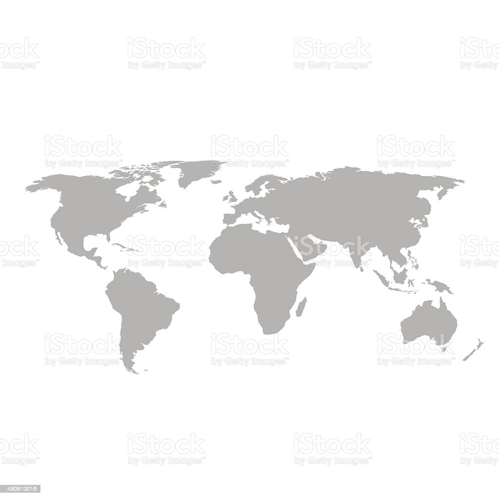 Gray world map on white background vector art illustration