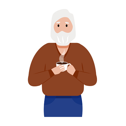 A gray-haired elderly man with a beard drinks hot coffee. Cartoon character