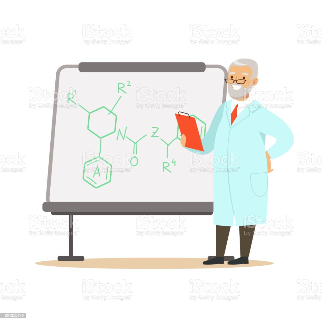 Gray-haired man scientist stands next to whiteboard with formula royalty-free grayhaired man scientist stands next to whiteboard with formula stock vector art & more images of adult