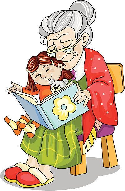 Image result for grandparents reading to grandchildren at library clip art