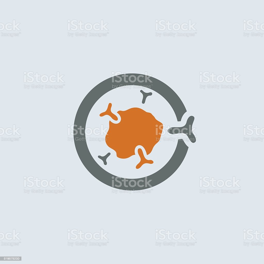 Gray-orange Immunoglobulin Round Icon vector art illustration