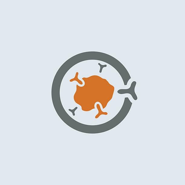 Gray-orange Immunoglobulin Round Icon vector art illustration