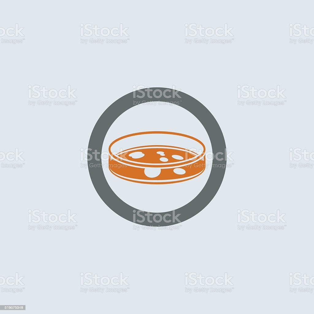 Gray-orange Petri Dish Round Icon vector art illustration