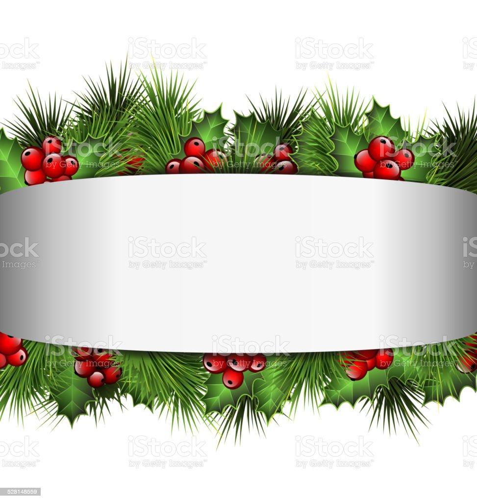Palline Di Natale Con Rametti cornice vuota in scala di grigi con rametti di agrifoglio e