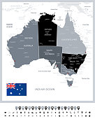 Grayscale color map of Australia and navigation icons