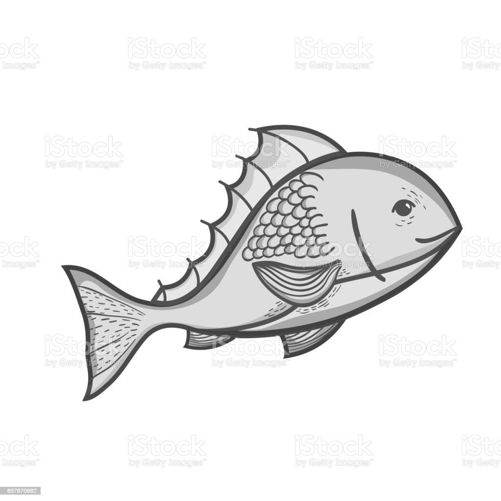 Ilustración de Pescado De Deliciosos Mariscos En Escala De Grises ...