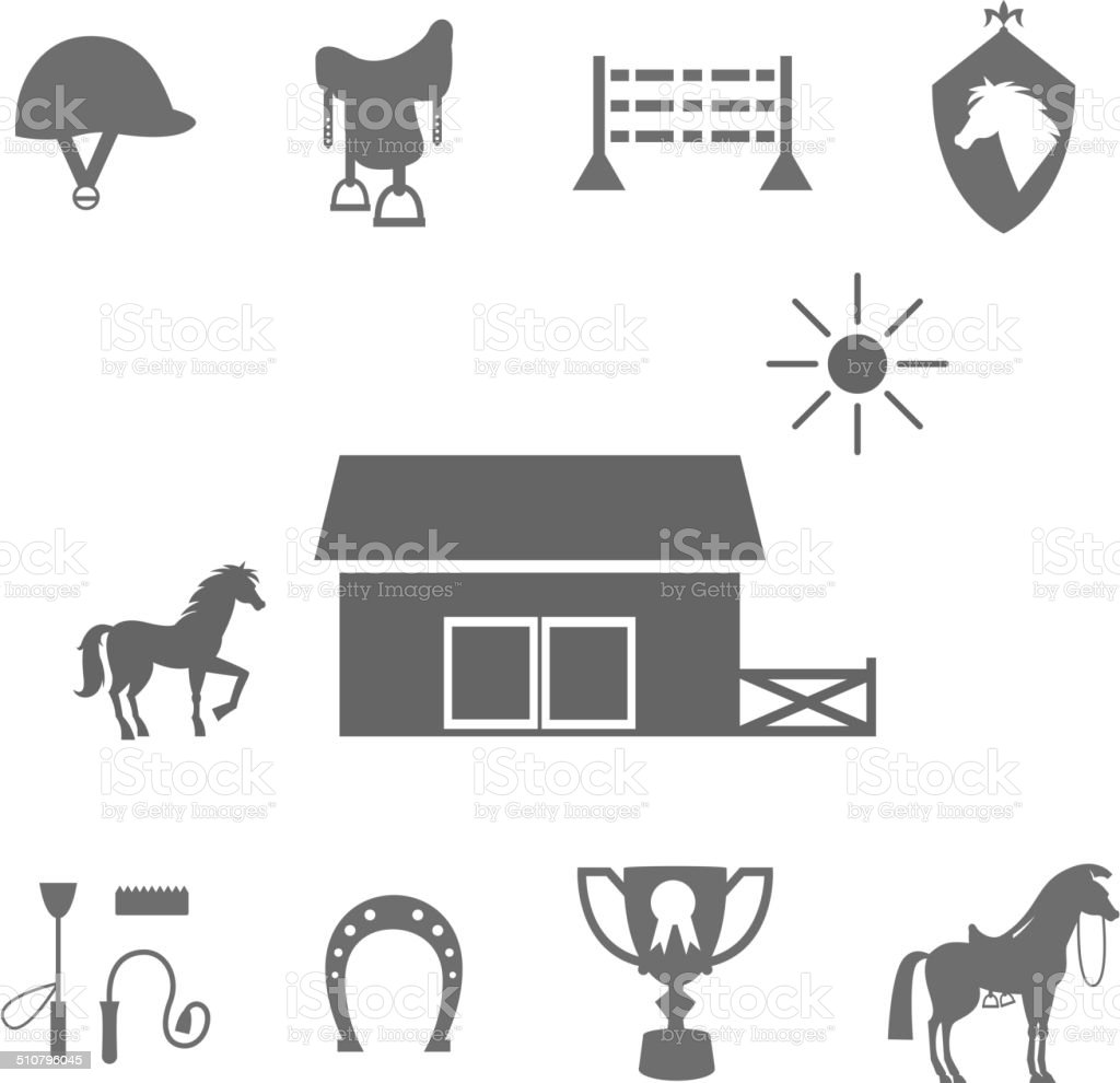 Grayscale Horse Icons on White Background vector art illustration