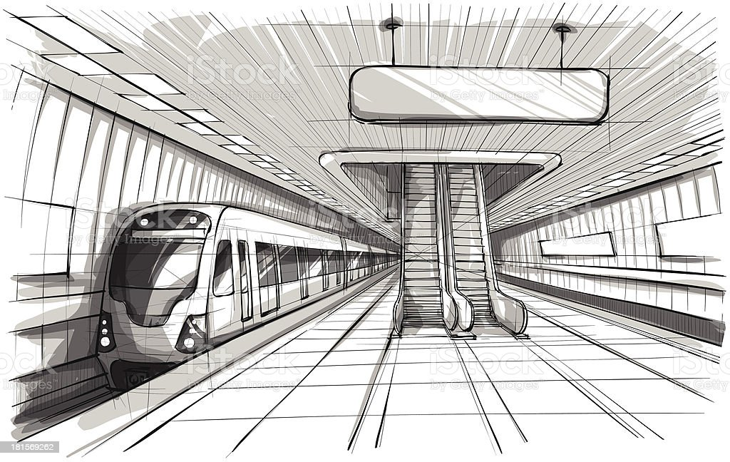 Grayscale illustration of an underground train station royalty-free grayscale illustration of an underground train station stock vector art & more images of activity