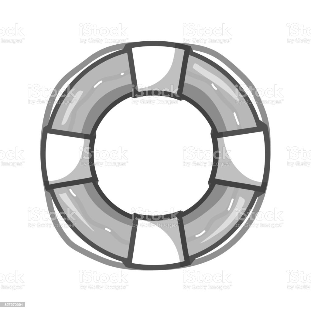 grayscale life buoy object to security emergency vector art illustration