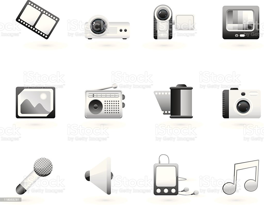 grayscale multimedia icon set vector art illustration