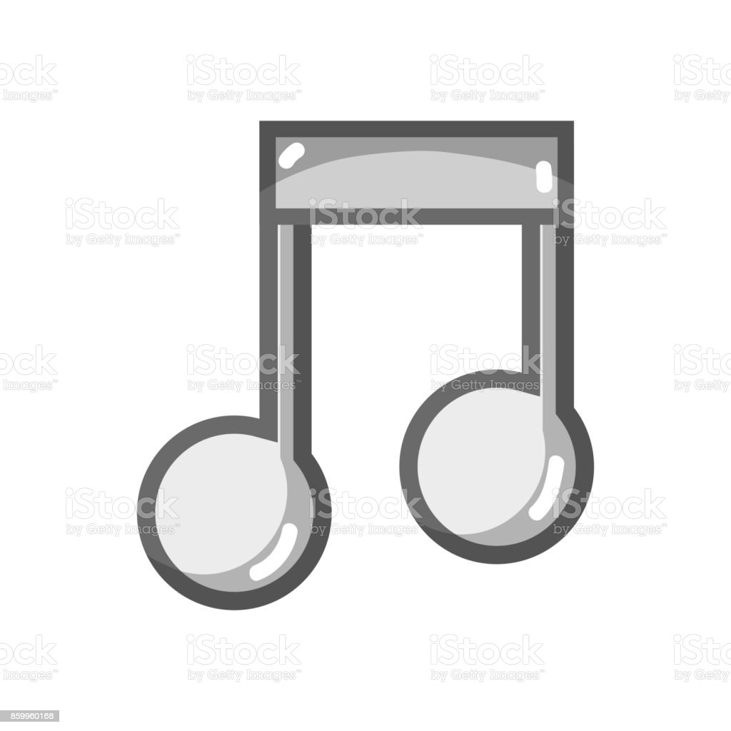 grayscale musical sign note to rhythm tone vector art illustration