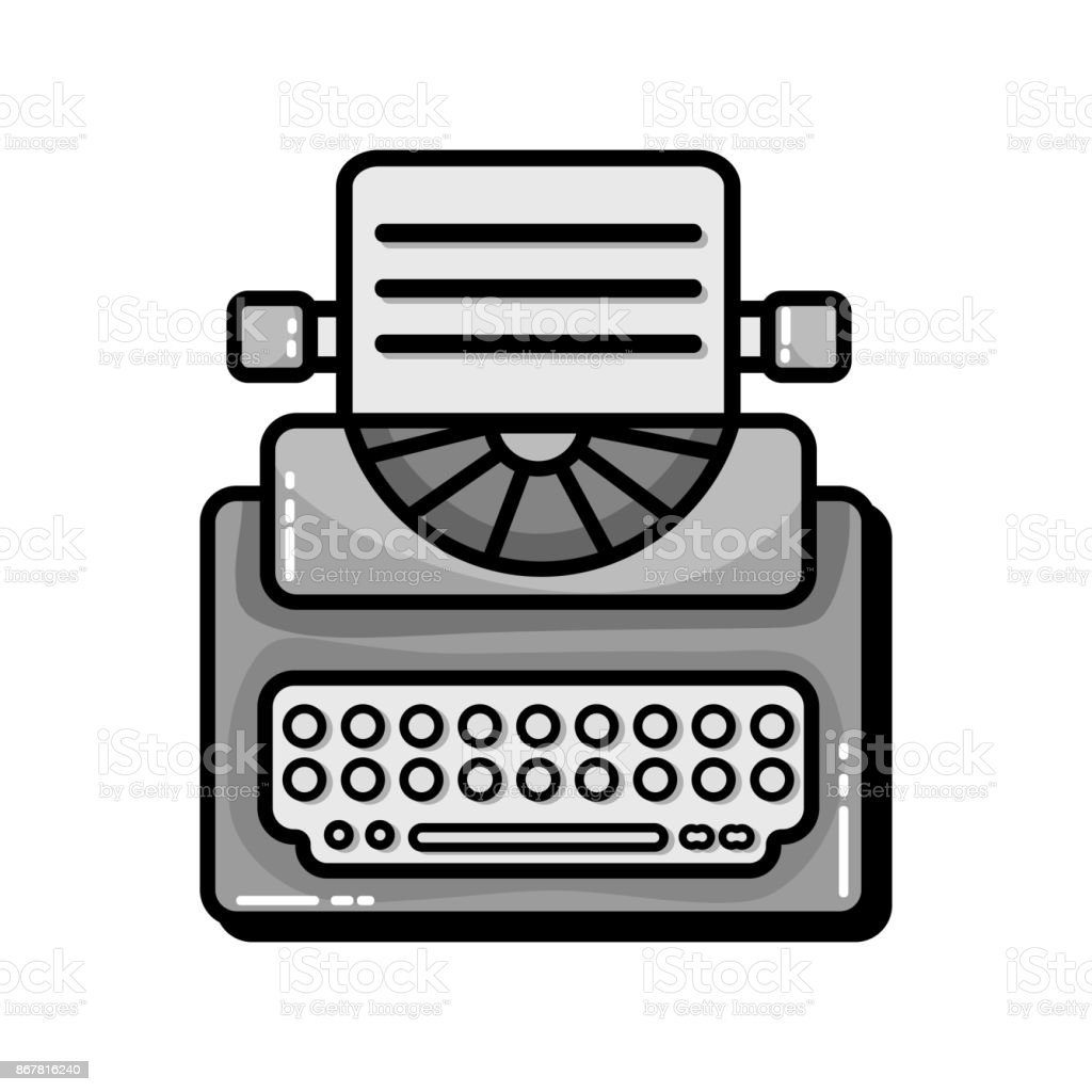 grayscale retro typewriter equipment with business document vector art illustration