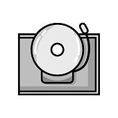 grayscale school bell alert object design