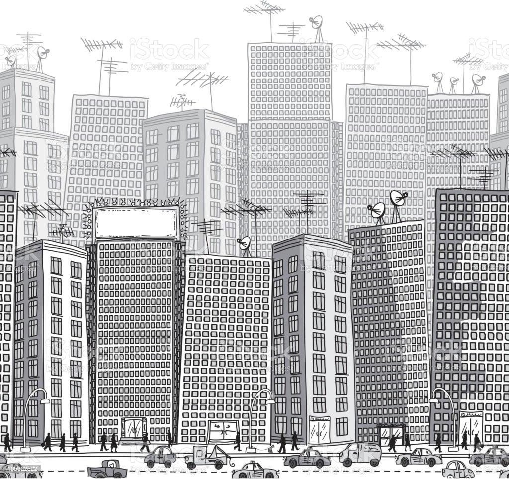 Grayscale Seamless City Pattern vector art illustration