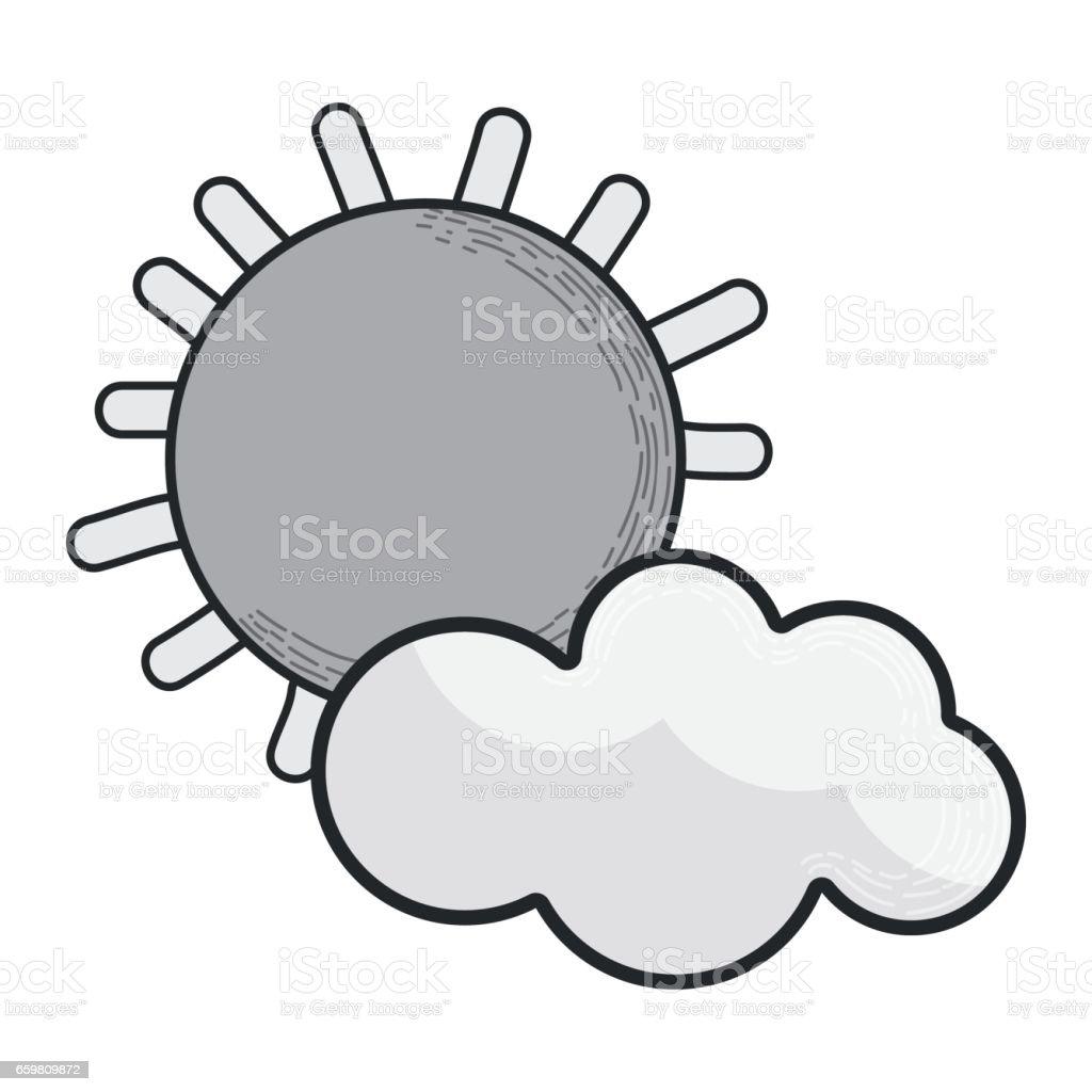 Ilustración de Personaje De Dibujos Animados De Nubes Y Sol En ...