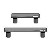 grayscale wood shelf table design