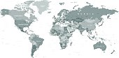Grayscale World Map - borders, countries and cities - illustration