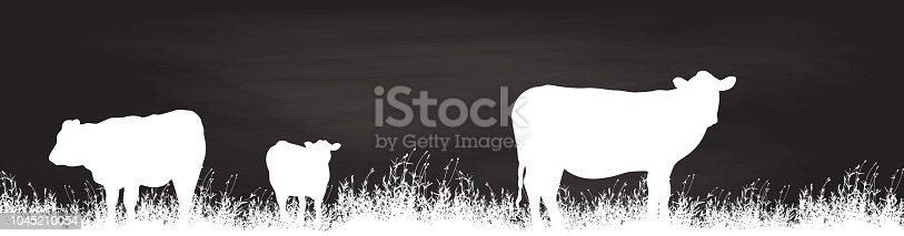 Cows in a field with grass in white silhouettes