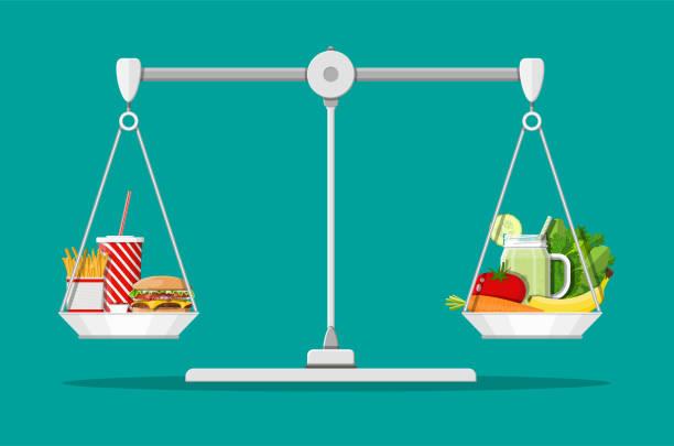 fettig cholesterin vs. vitamine essen - ungesunde ernährung stock-grafiken, -clipart, -cartoons und -symbole