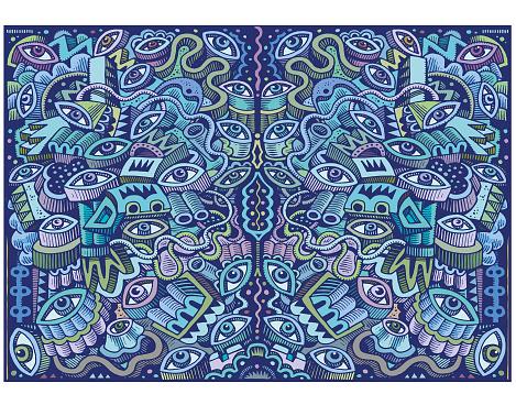 Great big blue doodle illustration